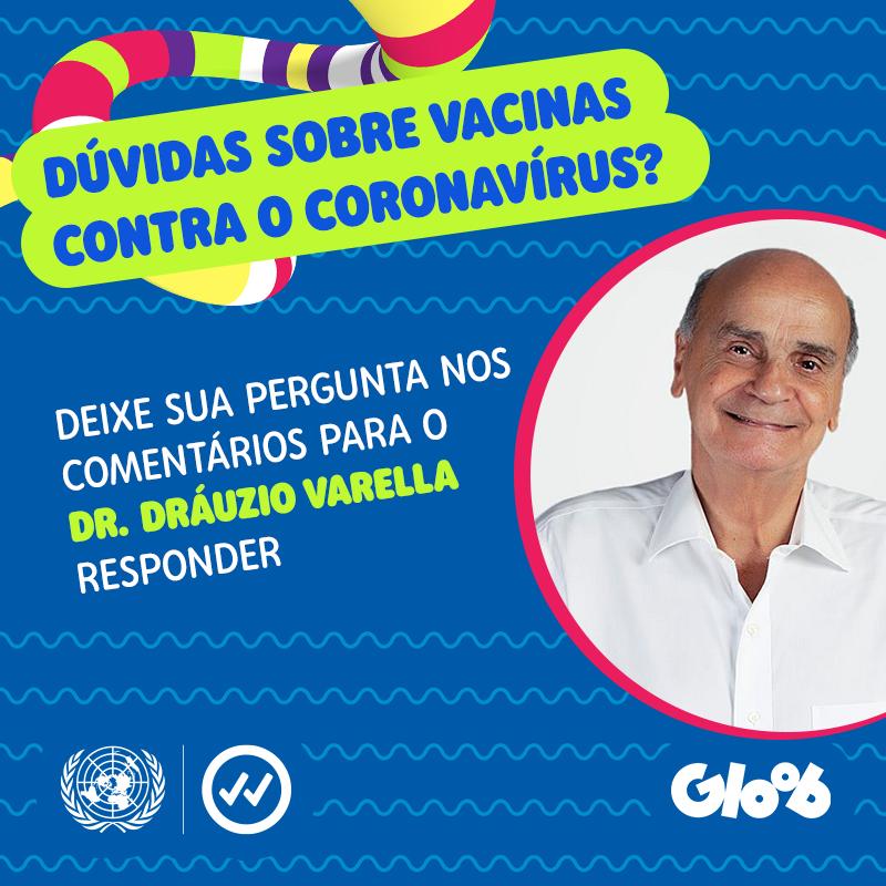 Dr. Drauzio Varella tira dúvidas de crianças sobre a vacina contra a COVID-19 em série de vídeos da ONU com o canal Gloob