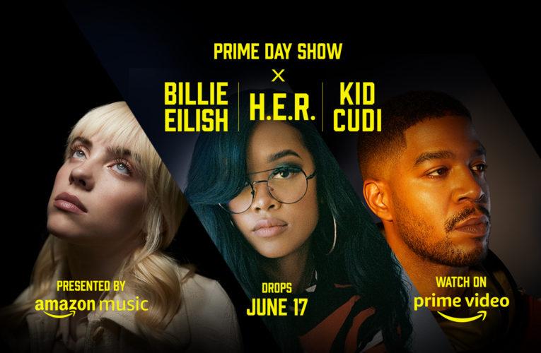 Amazon anuncia o Prime Day Show, apresentando artistas inovadores, como Billie Eilish, H.E.R. e Kid Cudi em um evento musical dividido em três partes para fãs de todo o mundo